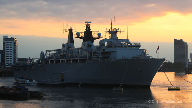 HMS BULWARK AT SUNSET