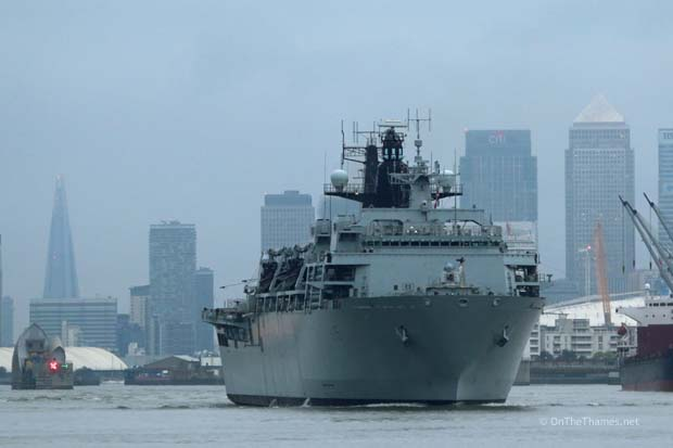 HMS BULWARK LEAVES LONDON