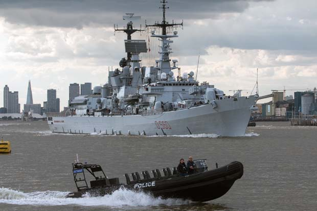 ITALIAN WARSHIP  LEAVES LONDON