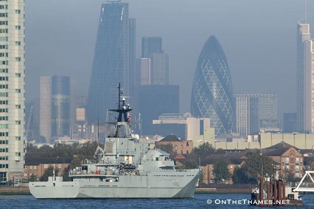 HMS Mersey arrives in London