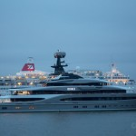 Superyacht Kismet leaves London