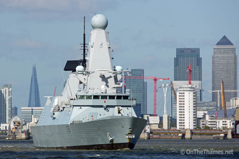 © Rob Powell. 28/04/2015. Type 45 destroyer HMS DEFENDER pictured in London. The Daring class warship visited the capital for six days in which time she welcomed members of the public on for tours and also helped marked the centenary of the Battle of Gallipoli. Credit : Rob Powell