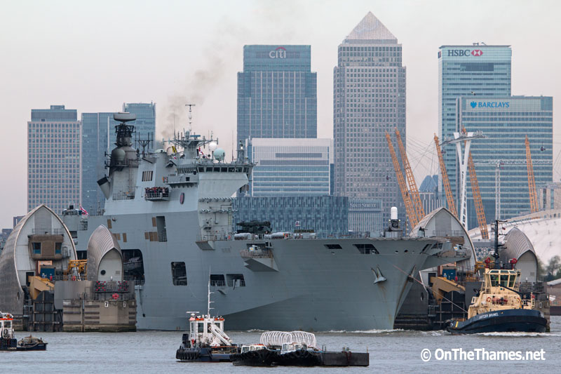 HMS OCEAN LEAVES LONDON