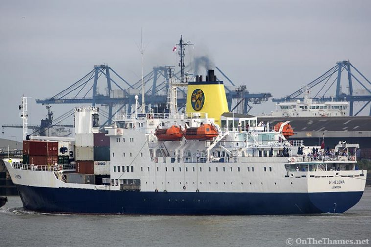RMS St Helena arrives on the Thames