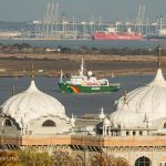 Greenpeace ship Esperanza sails up the Thames with a message for Sainbury's