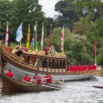 Gloriana pictured on the Thames in the annual Tudor Pull